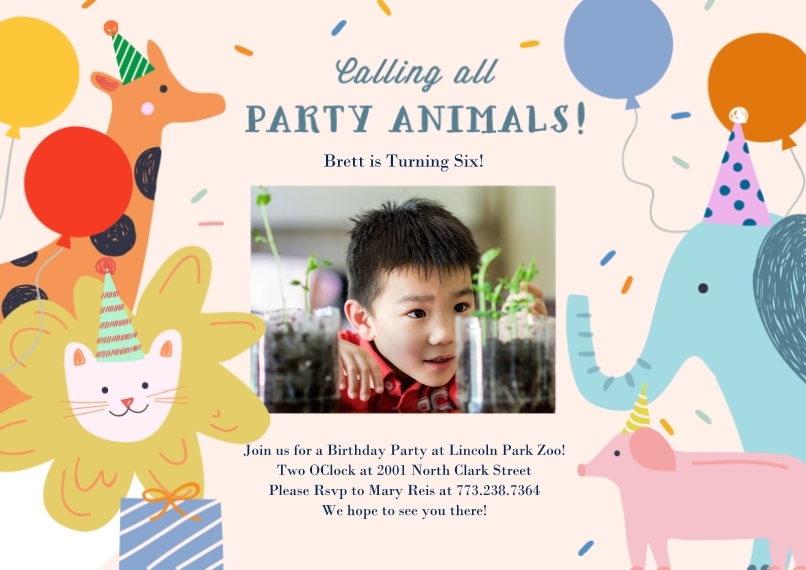Kids Birthday Party Invites 5x7 Cards, Standard Cardstock 85lb, Card & Stationery -Party Animal Confetti Invite