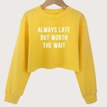 Girls Slogan Graphic Crop Sweatshirt