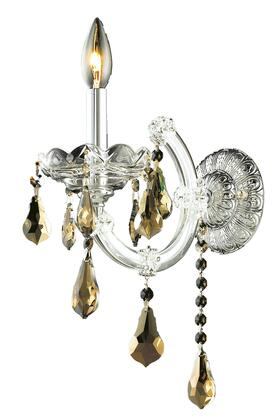 2801W1C-GT/SS 2801 Maria Theresa Collection Wall Sconce W8in H12in E8.5in Lt: 1 Chrome Finish (Swarovski Strass/Elements Golden