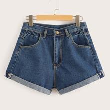 Blau  Taschen  Einfarbig Laessig Jeans Shorts Grosse Grossen
