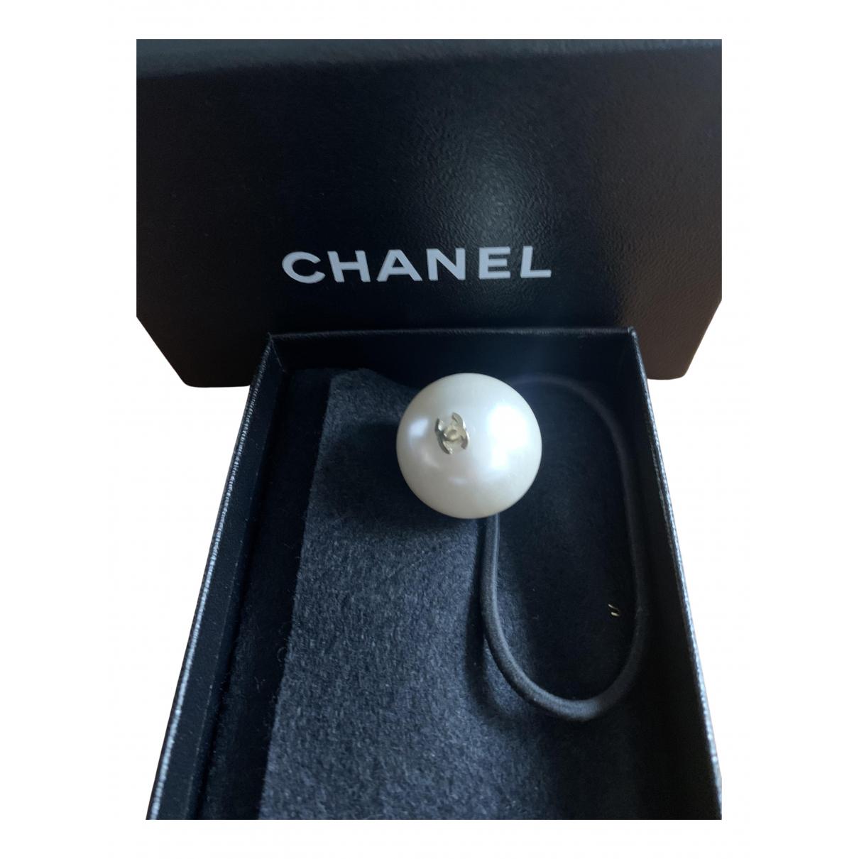 Chanel - Bijoux de tete CC pour femme en perle - ecru