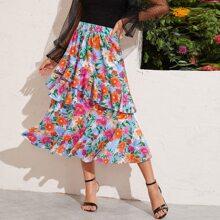 Falda con estampado floral bajo a capas