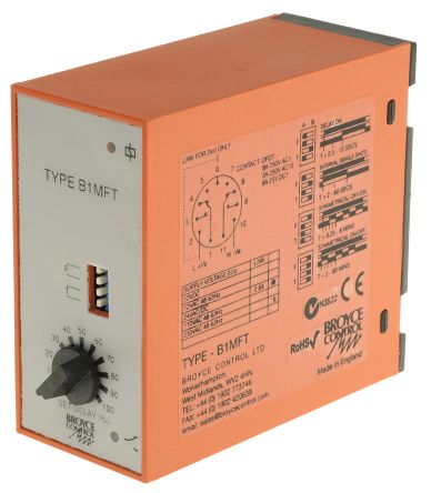 Broyce Control DPDT Multi Function Timer Relay - 0.25 → 60 min, 0.5 → 60 s, 2 Contacts, Plug In