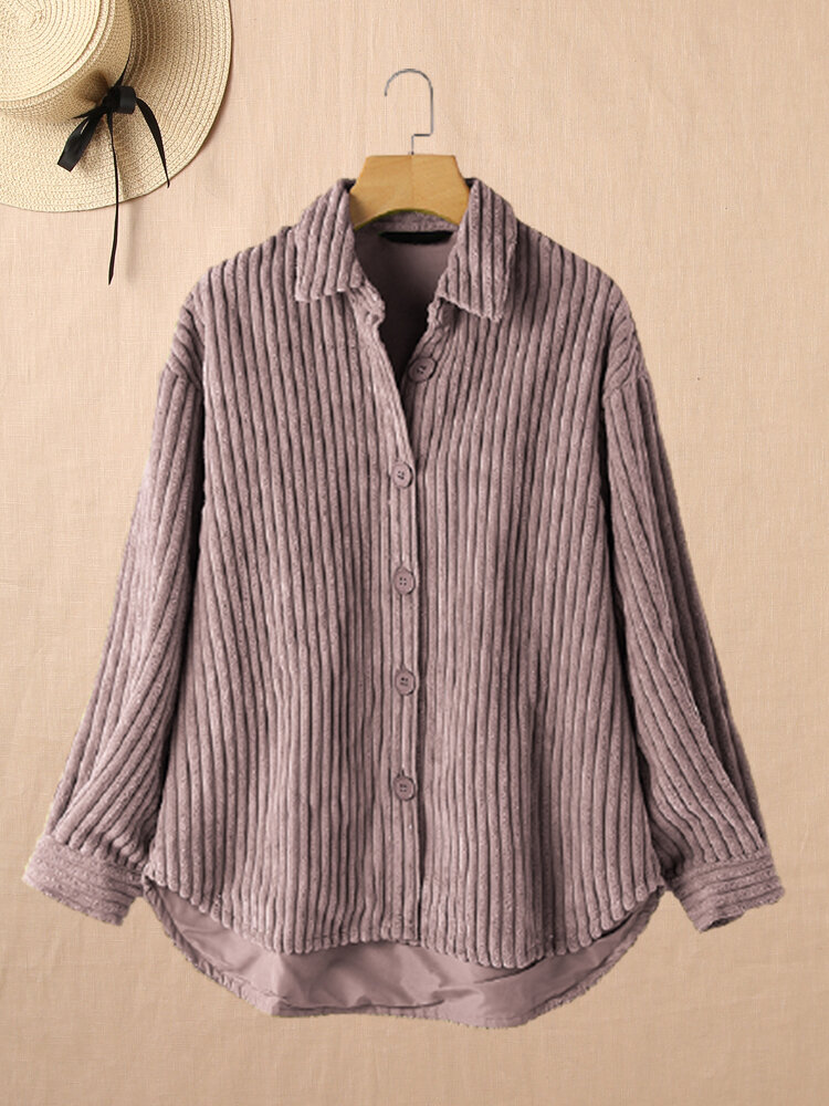 Solid Color Long Sleeve Turn-down Collar Corduroy Blouse For Women