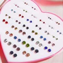 36pairs Rhinestone Decor Stud Earrings