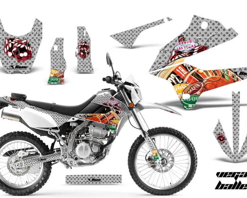 AMR Racing Dirt Bike Decals Graphics Kit Sticker Wrap For Kawasaki KLX250 2008-2018áVEGAS SILVER