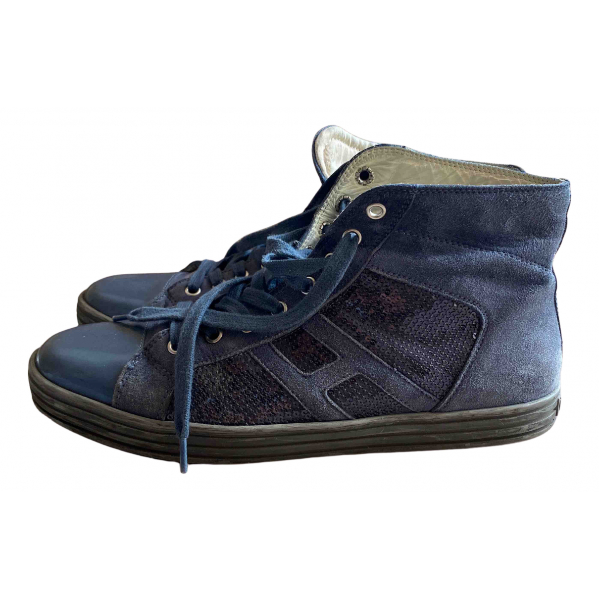 Hogan N Blue Leather Trainers for Women 40 EU