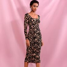 Ruched Leopard Print Mesh Bodycon Dress