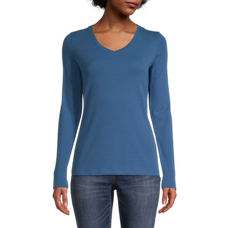 St. John's Bay-Womens Scoop Neck Long Sleeve T-Shirt, Large , Blue