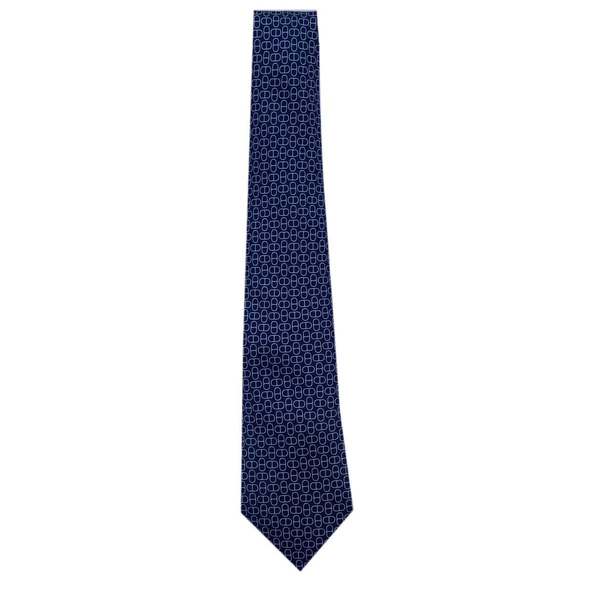 Hermès N Navy Silk Ties for Men N