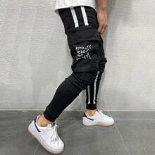 Guys Letter Graphic Flap Pocket Cargo Pants