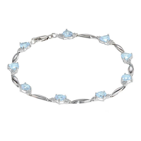 Simulated Aquamarine Heart-Shaped Sterling Silver Bracelet, One Size , No Color Family
