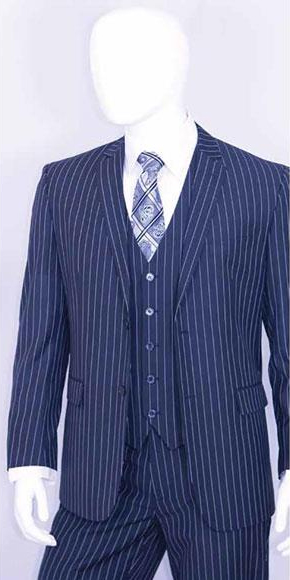 Men's Bold White 2 Buttons Vest 3 Pieces Teal Cobalt Blue Pinstripe