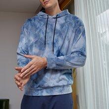 Hoodie mit sehr tief angesetzter Schulterpartie, Batik und Kordelzug