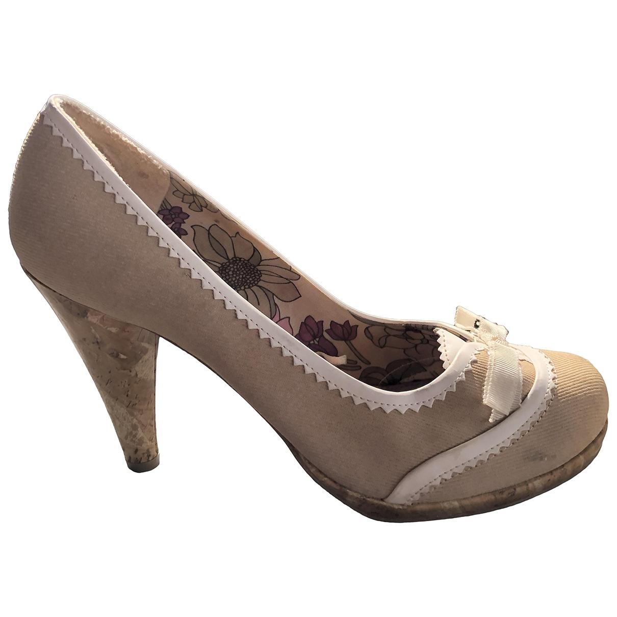 - Escarpins   pour femme en toile - beige
