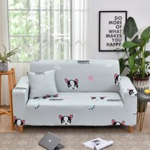 Cartoon Dog Print Sofa Cover Without Cushion