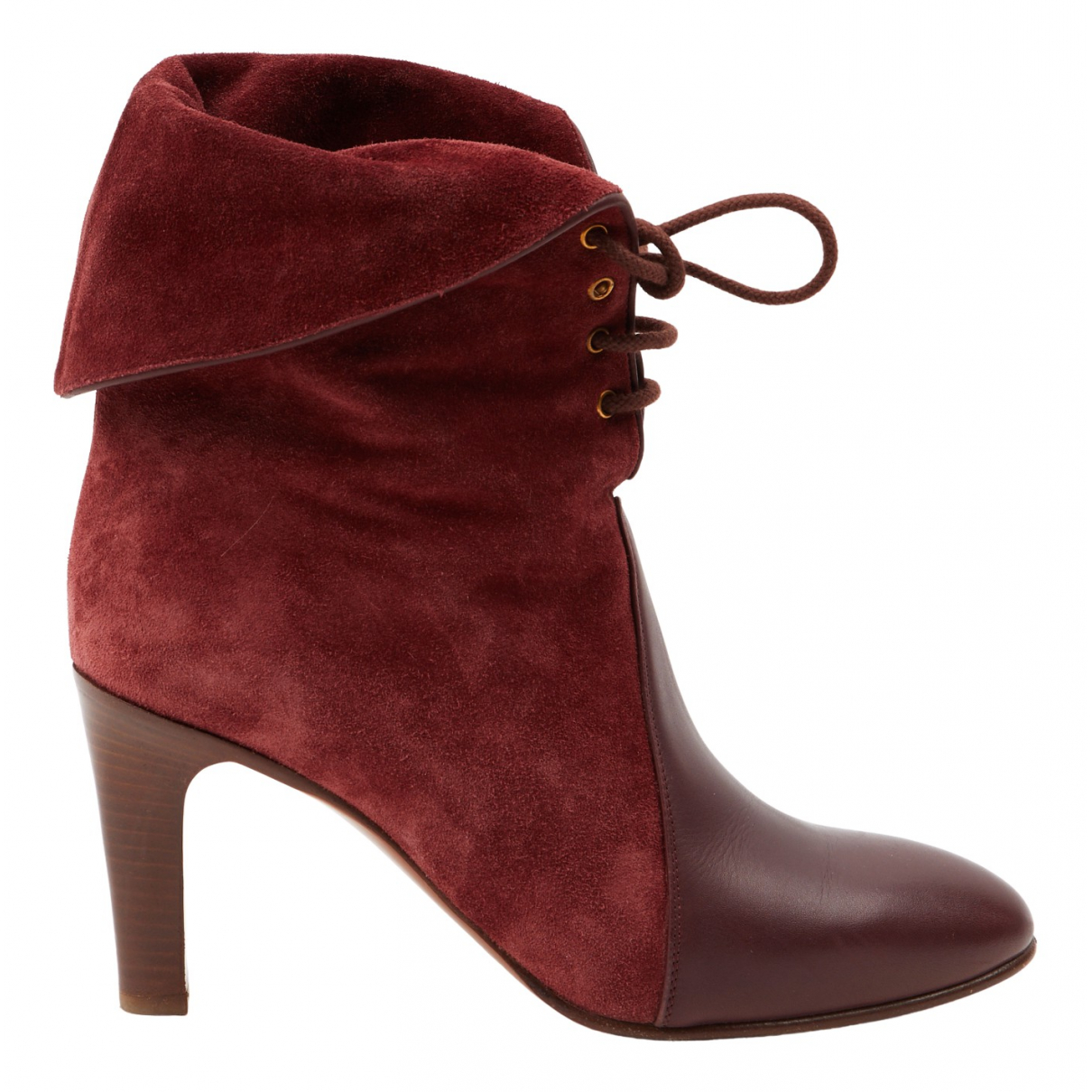 Chloé N Burgundy Suede Ankle boots for Women 38 EU