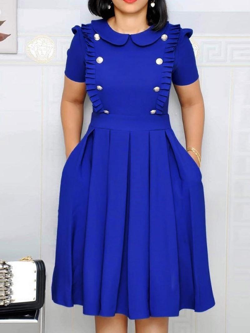 Ericdress Knee-Length Short Sleeve Pleated Pullover Dress