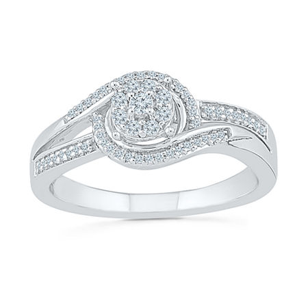 Womens 1/5 CT. T.W. Genuine White Diamond Sterling Silver Engagement Ring, 4 , No Color Family