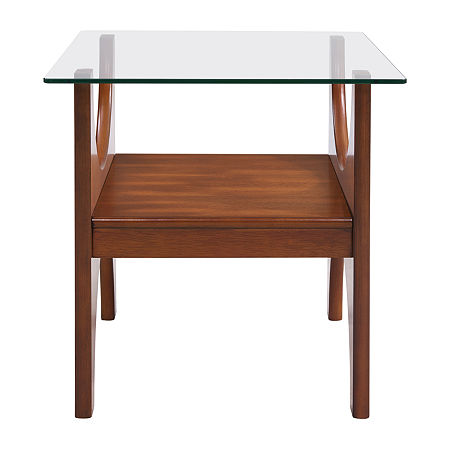Macda Glass-Top End Table, One Size , Brown