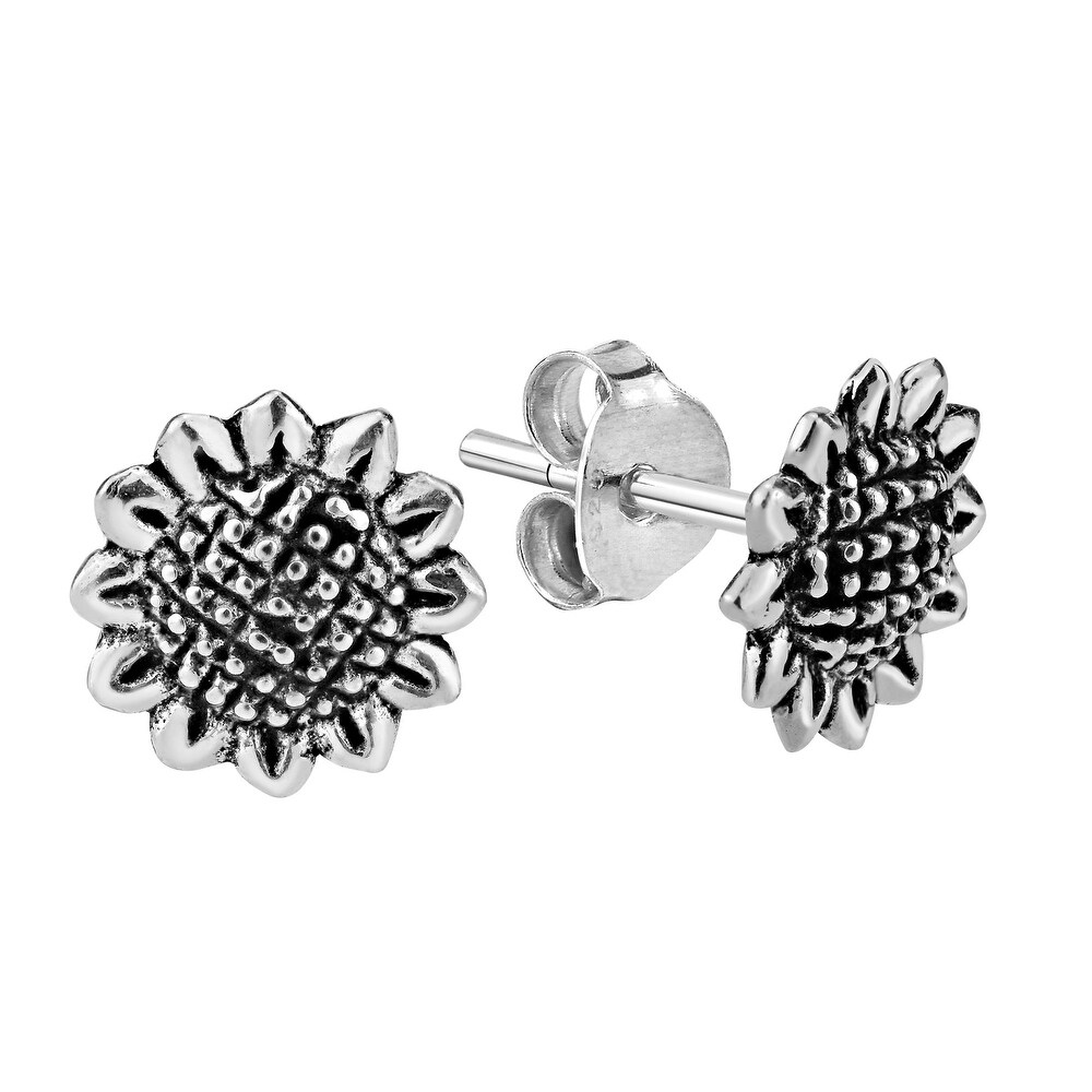 Handmade Nature Charm Sunflower Sterling Silver Stud Floral Earrings (Thailand) (White)