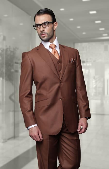 Mens Big Size Vested Suits 2 Button Wool Suits Brown