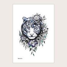 1 hoja pegatina de tatuaje con patron de tigre