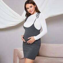 Maternidad vestido con tira de hombros con cordon