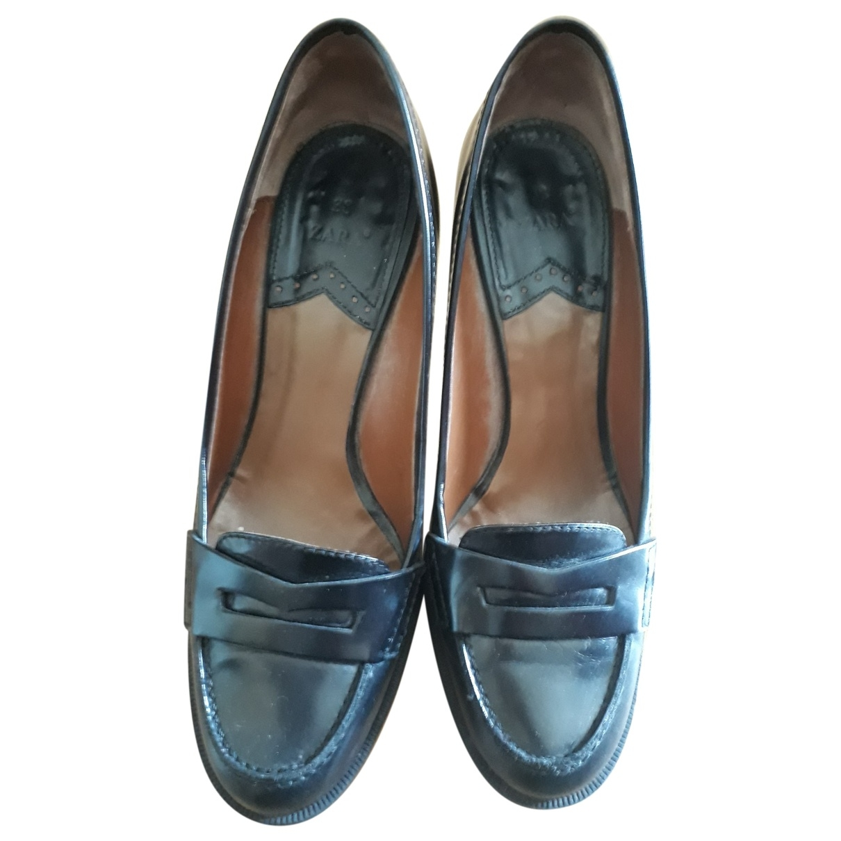 Zara \N Black Leather Flats for Women 38 EU