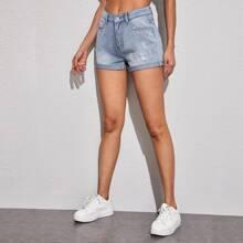 Light Wash Ripped Cuffed Denim Shorts