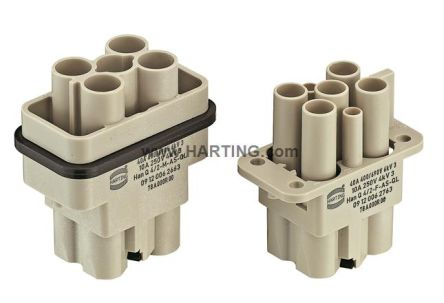 HARTING Han Q Heavy Duty Power Connector Insert, 6 contacts, 40A, Female (10)