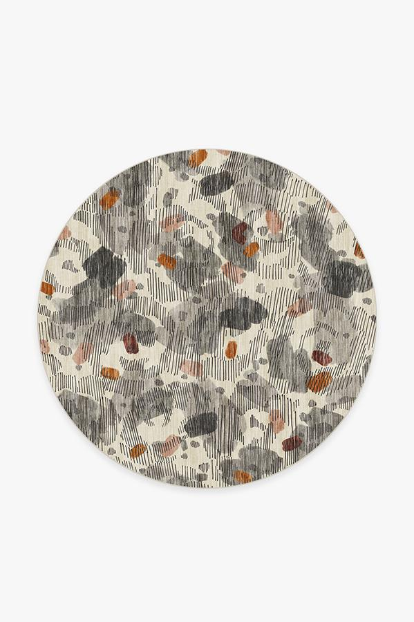 Washable Rug Cover & Pad | Leona Warm Grey Rug | Stain-Resistant | Ruggable | 6' Round