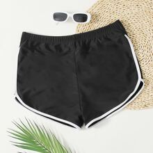 Plus Contrast Binding Bikini Shorts