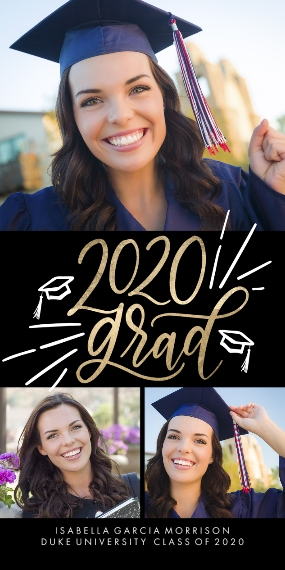 2020 Graduation Announcements Flat Matte Photo Paper Cards with Envelopes, 4x8, Card & Stationery -2020 Grad Simple ScriptMemories by Tumbalina