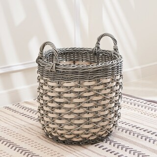 Valeria Round Resin Plant Pot and Laundry Baskets with Handles (11x14)