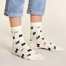 1pair Cat Print Socks