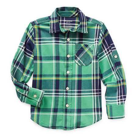 Arizona Little & Big Boys Long Sleeve Button-Down Shirt, Small (8) , Green