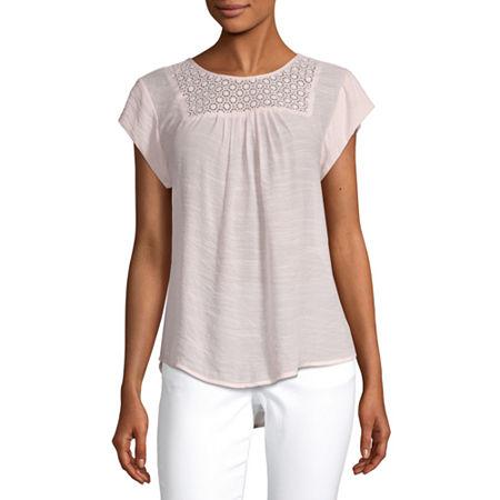 Liz Claiborne Womens Round Neck Short Sleeve Blouse, X-large , Pink
