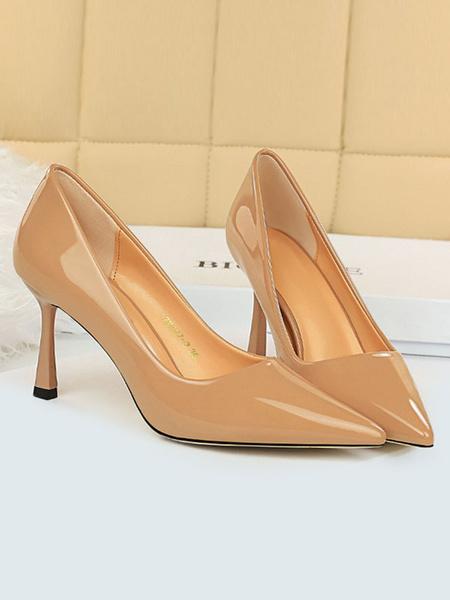 Milanoo Nude High Heels Pointed Toe Slip On Pumps Women Dress Heeled Shoes