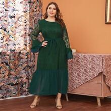Plus Contrast Lace Flounce Sleeve Ruffle Hem Belted Dress