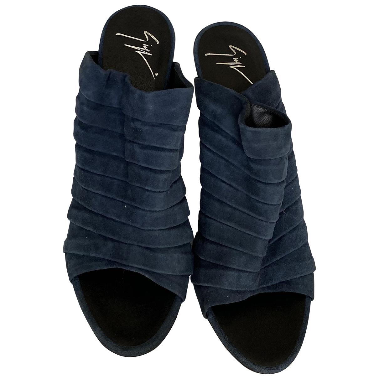 Giuseppe Zanotti \N Blue Suede Sandals for Women 39 IT