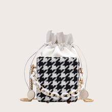 Mini Drawstring Decor Houndstooth Bucket Bag