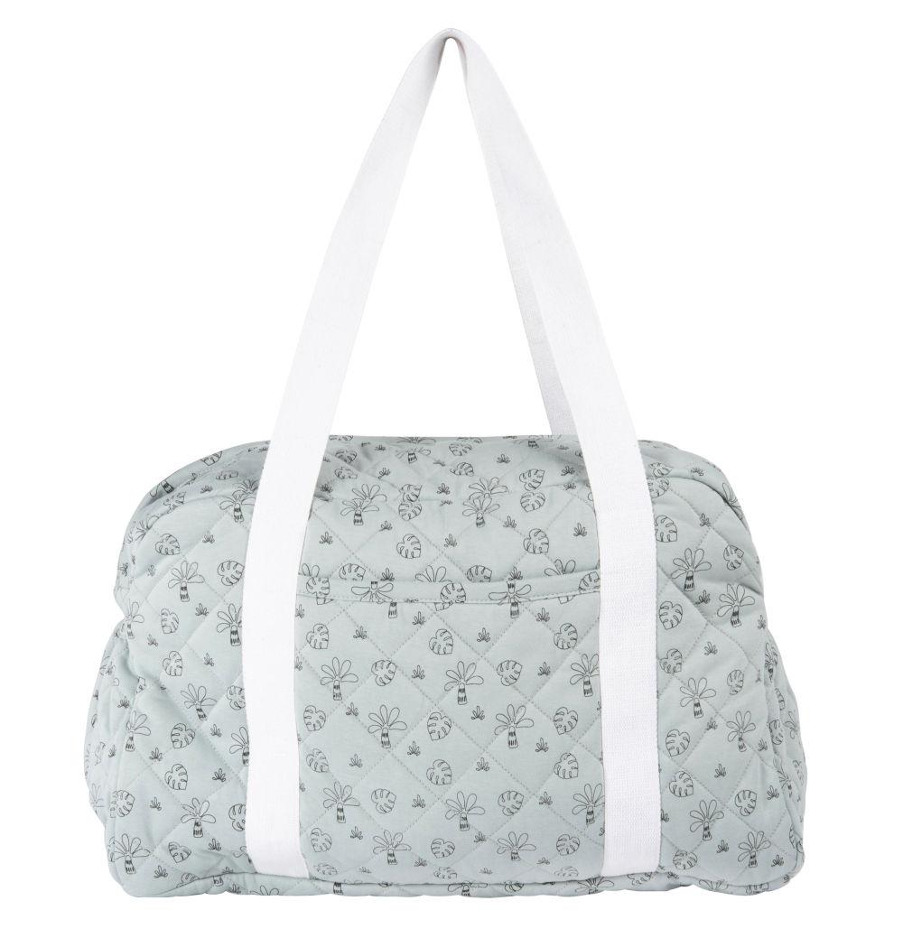 Wickeltasche aus Baumwolle, naturweiss, blau und schwarz, Tropenmuster