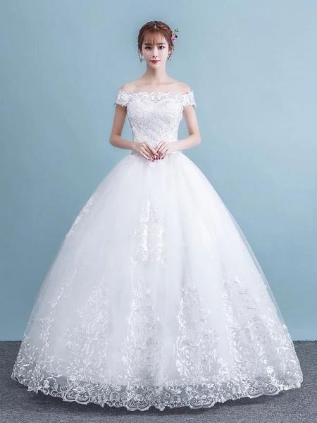 Milanoo Princess Ball Gown Wedding Dresses White Off The Shoulder Lace Floor Length Bridal Dress