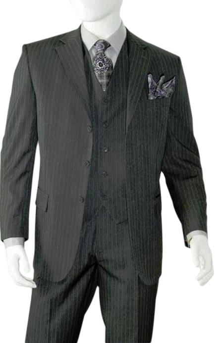 Albeto Nardoni Charcoal Grey Pinstripe 3 Buttons Vested Wool Suit