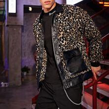 Teddy Jacke mit PU Leder Einsatz und Leopard Muster