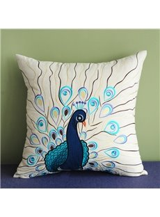 Beautiful Peacock Embroidery PP Cotton Square Throw Pillow