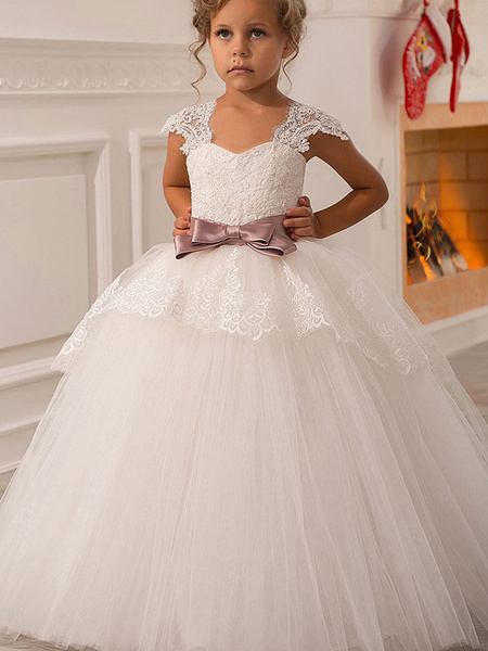 Milanoo Flower Girl Dresses Square Neck Lace Short Sleeves Ankle Length Ball Gown Bows Kids Pageant Dresses