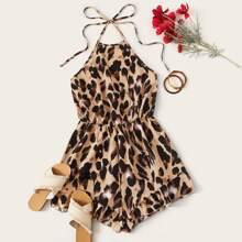 Mono halter de espalda con cordon con estampado de leopardo