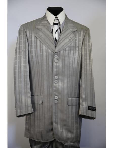 Mens stripe Single Breasted gray long suit